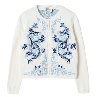 ケイタマルヤマ(KEITA MARUYAMA TOKYO PARIS)の未使用 ケイタ マルヤマ ドラゴン刺繍カーディガン ホワイト 01サイズ(カーディガン)