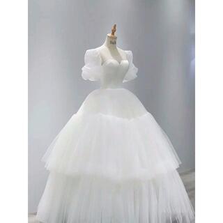 大好評中!プリンセスライン ウエディングドレス  パフスリーブ  フレアスカート