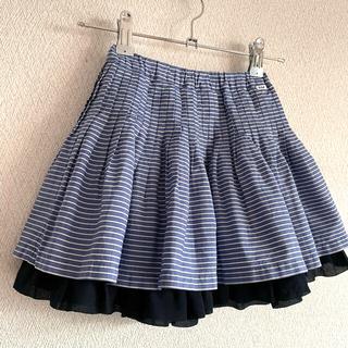ファミリア(familiar)のfamiliar f dash♡ストライプ フレアスカート フリル♡100(スカート)