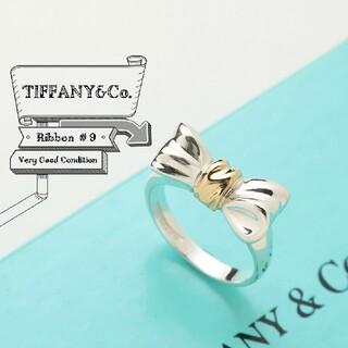 ティファニー(Tiffany & Co.)の新品仕上げ ティファニー リボン AG 925 × YG 750 リング 9号(リング(指輪))