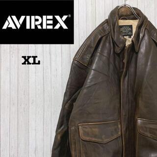 AVIREX - AVIREX アヴィレックス フライト レザージャケット A2 革ジャン XL
