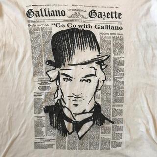 ジョンガリアーノ(John Galliano)のJohn Galliano 定番のニュースペーパーと本人のイラストTシャツ(Tシャツ/カットソー(半袖/袖なし))