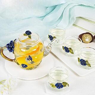アトリエボズ(ATELIER BOZ)の宝石のような青薔薇と紫薔薇のアフタヌーンティーセット【1890】(グラス/カップ)