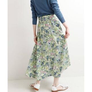 IENA - 21SS 完売色 新品 IENA かすれフラワー ギャザースカート ブルー