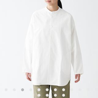 MUJI (無印良品) - 無印良品 洗いざらしオックススタンドカラーロングシャツ L-XL