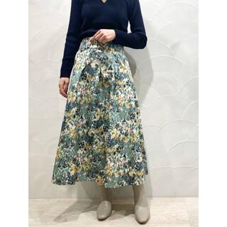 IENA - 春夏新作 完売色 新品 IENA かすれフラワー ギャザースカート グリーン