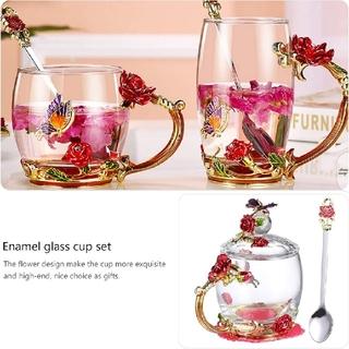 アトリエボズ(ATELIER BOZ)の宝石のような赤薔薇と紫薔薇の耐熱ガラスグラス【1891】(グラス/カップ)
