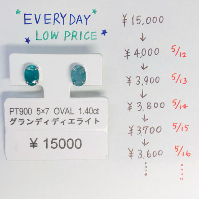 E-56994 PT900 ピアス グランディディエライト AANI アニ レディースのアクセサリー(ピアス)の商品写真