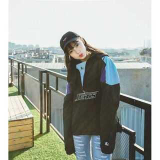 【送料無料】NEW YORK パーカー ジャケット ブルゾン ブラック Lサイズ(ナイロンジャケット)