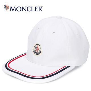 モンクレール(MONCLER)の14 MONCLER ホワイト ロゴワッペン 帽子 ベースボールキャップ(キャップ)