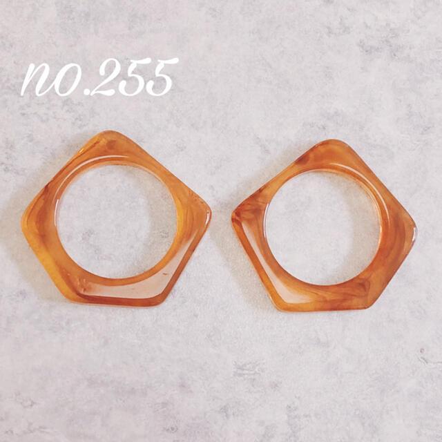 no.255 不規則フレーム ブラウン ピアス ハンドメイドのアクセサリー(ピアス)の商品写真