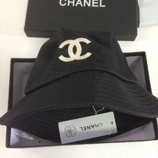 新品 シャネル ロゴ バケットハット ブラック 黒 帽子
