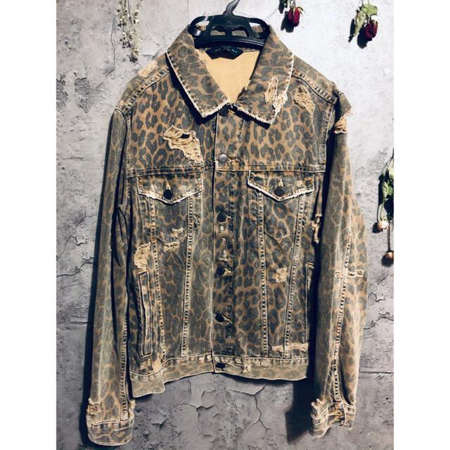 ZARA(ザラ)のZARA 豹柄ダメージデニムジャケット メンズのジャケット/アウター(Gジャン/デニムジャケット)の商品写真