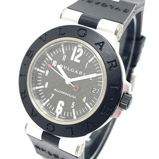 ブルガリ(BVLGARI)のブルガリ AL38TA デイト アルミニウム メンズ腕時計 ブラック×シルバー(ラバーベルト)