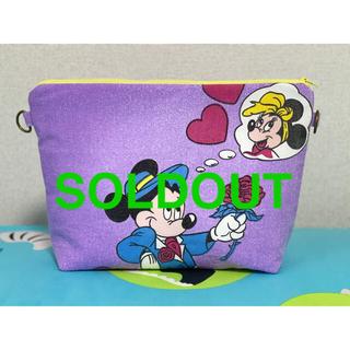 ディズニー(Disney)のクリアバッグ付きポーチ ビンテージシーツ ハンドメイド(ポーチ)