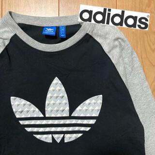 アディダス(adidas)のアディダス adidas 七分袖 シャツ ビッグロゴ ラグラン 黒 ブラック(Tシャツ/カットソー(七分/長袖))