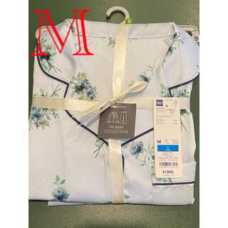 ジーユー(GU)の新品 GU 大人色気 サテンパジャマ 上下セット 花柄 フラワー 長袖 青色 M(パジャマ)