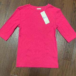 ジーユー(GU)のGU  リブクルーネックT  ピンク  S(Tシャツ(半袖/袖なし))