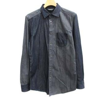 ディーゼル(DIESEL)のディーゼル DIESEL XS デニムシャツ ダメージ加工 長袖 紺 ネイビー(シャツ)