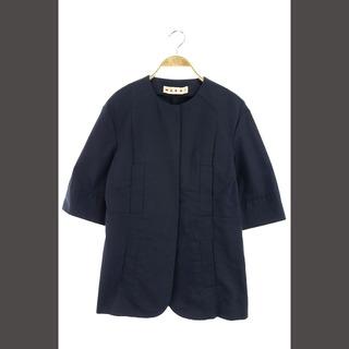 マルニ(Marni)のマルニ コットンツイルジャケット ノーカラー 七分袖 40 紺 /MY(その他)