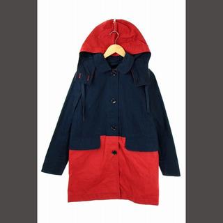 コーチ(COACH)のコーチ COACH コート バイカラー ラウンドカラー フード付 S 紺 赤(その他)
