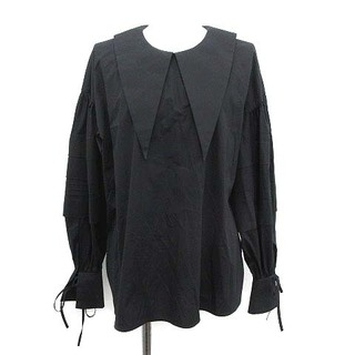 ENFOLD - エンフォルド 20SS 襟付き ボリューム ブラウス シャツ 長袖 38 M 黒