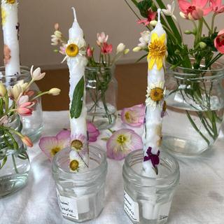 野の花キャンドル handmade 2本 ノースポール、芝桜、ハルジオン(アロマ/キャンドル)