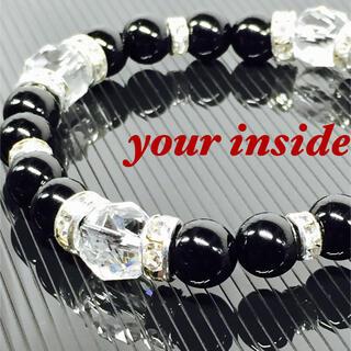 スターカット水晶 ブラックオニキス 天然石ブレスレット(ブレスレット/バングル)