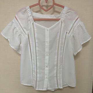 ジーユー(GU)のGU ブラウス カットソー トップス ホワイト(カットソー(半袖/袖なし))