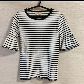 ニットプランナー(KP)の【trois lapins】テレコボーダー半袖Tシャツ♡140*ブラック(Tシャツ/カットソー)