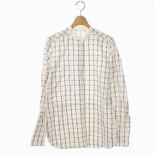 クロエ(Chloe)のクロエ CHLOE チェック刺繍 ノーカラーロングシャツ (シャツ/ブラウス(長袖/七分))
