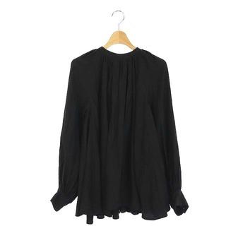 アクアガール(aquagirl)のアクアガール ブラウス ギャザー ロング カフス 長袖 黒 ブラック(シャツ/ブラウス(長袖/七分))