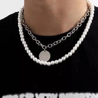 新品 パールネックレス メンズ ネックレス シルバーネックレス 韓国 海外 真珠