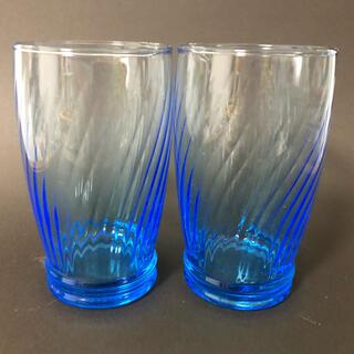トウヨウササキガラス(東洋佐々木ガラス)のお値下げ 東洋ガラス 青いビードロ ペアセット 昭和 レトロ(グラス/カップ)