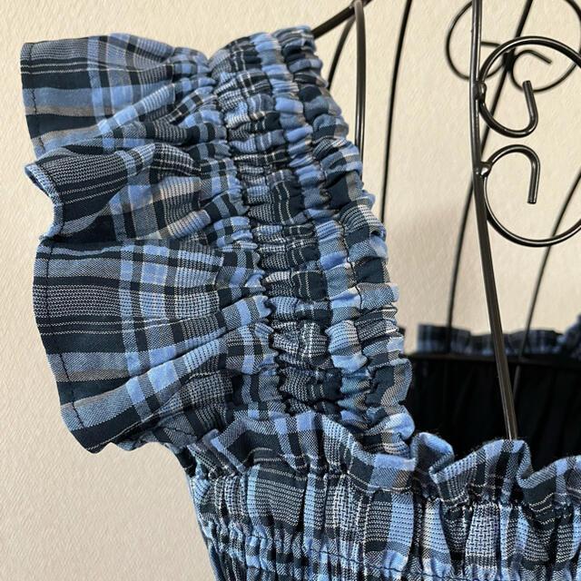snidel(スナイデル)のSNIDEL スナイデル ワンピース シャーリング チェック ブルー レディースのワンピース(ロングワンピース/マキシワンピース)の商品写真