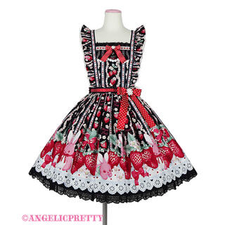 Angelic Pretty - Little Bunny Strawberryエプロン風スカート クロ