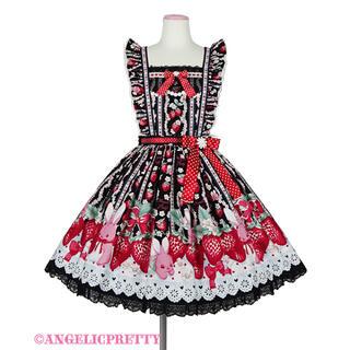 Angelic Pretty - Little Bunny Strawberryエプロン風スカート クロ