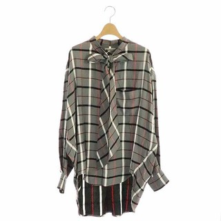 バレンシアガ バックロゴリボンタイオーバーサイズ シャツ チュニック チェック