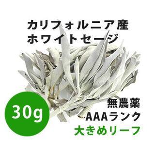 【無農薬】ホワイトセージ  高品質30g 解説マニュアル&チャック付きポリ袋(お香/香炉)