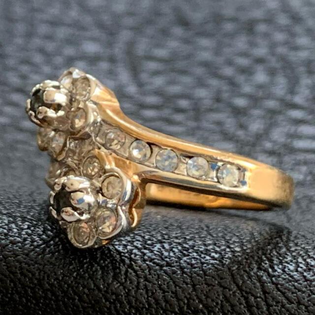 90'sUSA!サファイア×重なるフラワー!ゴールドリング レディースのアクセサリー(リング(指輪))の商品写真