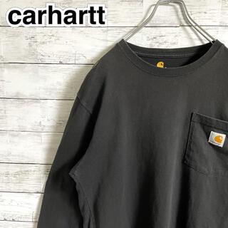 カーハート(carhartt)の【超人気】カーハート☆ロゴタグ ポケット ブラック 長袖Tシャツ ロンT(Tシャツ/カットソー(七分/長袖))