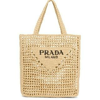 PRADA - PRADA プラダ 今期 新作 新品 本物 ラフィア トートバッグ ベージュ