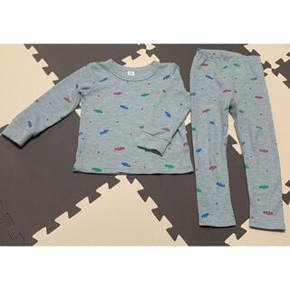 シマムラ(しまむら)の未使用 しまむら 長袖 長ズボン パジャマ 上下セット 車 100cm グレー(パジャマ)