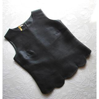 miumiu - miumiu ♡ シルク 裾スカラップ ノースリーブ ブラウス ネイビー