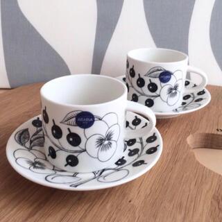 アラビア(ARABIA)の新品 2客 ARABIA ブラックパラティッシ コーヒーカップ&ソーサー(食器)