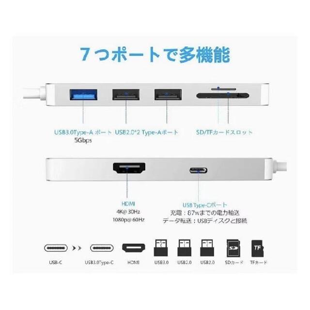 USB C ハブ 7-in-1 USB Type C ハブ スマホ/家電/カメラのPC/タブレット(PC周辺機器)の商品写真