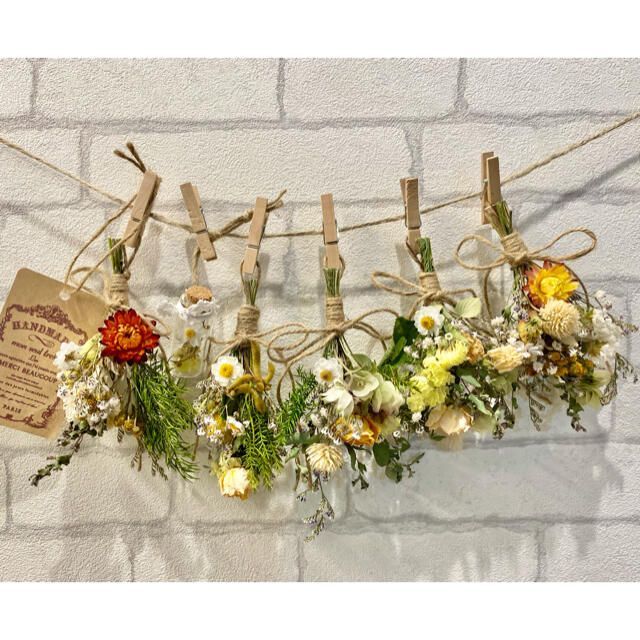 ドライフラワー スワッグ ガーランド❁257黄色 薔薇 花束フラワーボトル付き ハンドメイドのフラワー/ガーデン(ドライフラワー)の商品写真