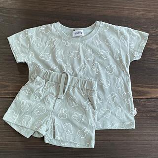 しまむら - ミッフィー 総柄Tシャツ+ハーフパンツ 淡黄緑 100