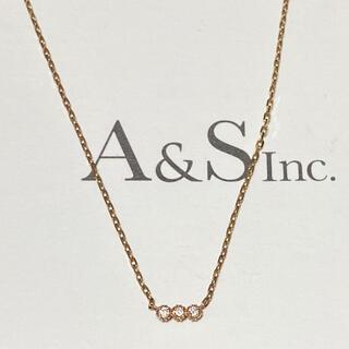 agete - agete アガット ダイヤ 3連 ネックレス K10