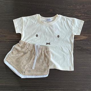 しまむら - ミッフィー Tシャツ+総柄ハーフパンツ 淡白 100